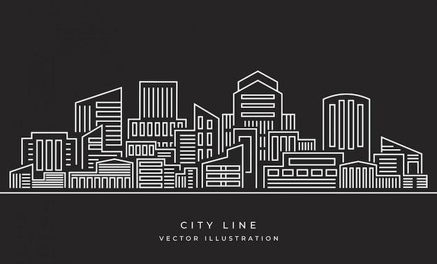 Illustrazione di vettore: linea sottile paesaggio della città
