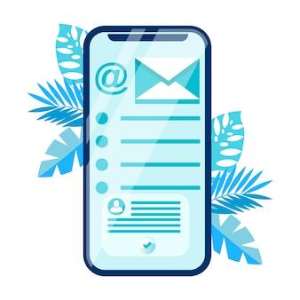 Illustrazione di vettore piatto applicazione mobile chat