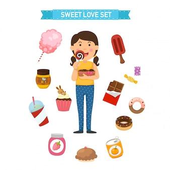 Illustrazione di vettore set festa dolce