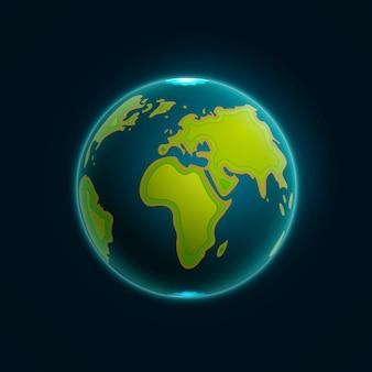 Illustrazione di vettore terra globo. carta che intaglia forme di mappe della terra con ombra