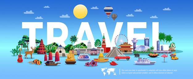 Illustrazione di viaggi e turismo con elementi resort e visite turistiche