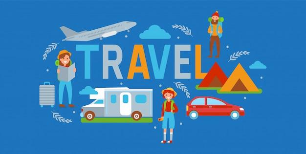 Illustrazione di viaggio campeggio. concetto di vacanze e turismo. viaggiatori maschi e femmine con mappa. tenda, veicolo come auto, aereo, autobus. campo estivo, escursioni. attività all'aperto.