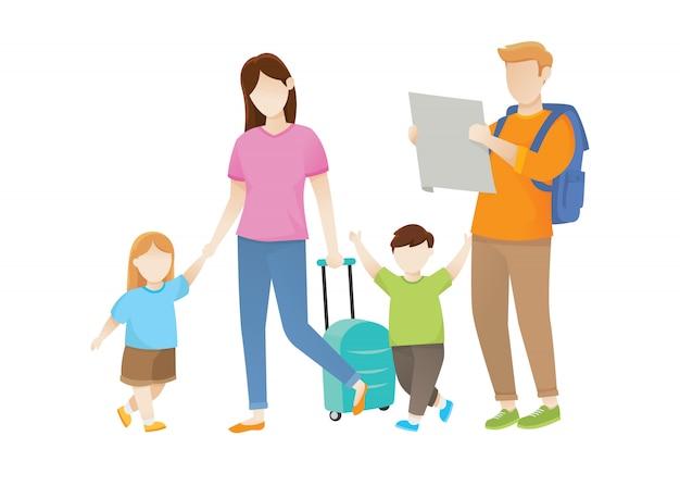 Illustrazione di viaggio con la famiglia