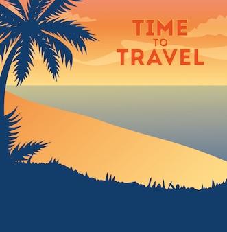 Illustrazione di viaggio con la spiaggia