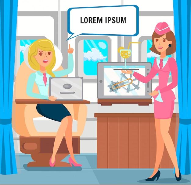 Illustrazione di viaggio d'affari dell'imprenditore femminile