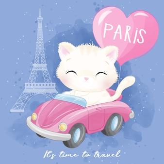 Illustrazione di viaggio del gattino sveglio della lettiera