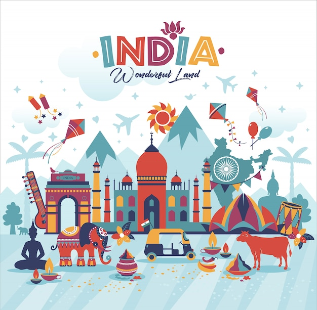 Illustrazione di viaggio del paesaggio dell'india