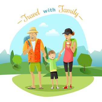 Illustrazione di viaggio in famiglia