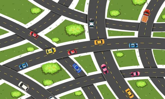 Illustrazione di vista aerea della strada di traffico