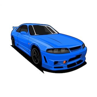 Illustrazione di vista frontale dell'automobile sportiva