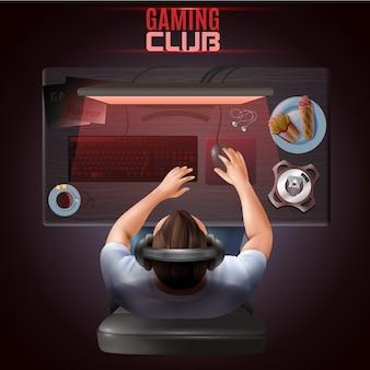 Illustrazione di vista superiore del giocatore