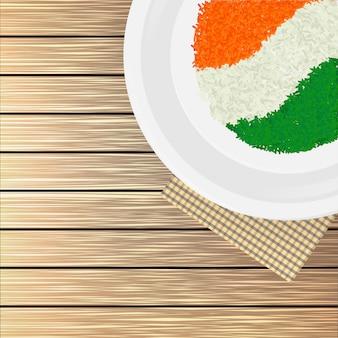 Illustrazione di vista superiore della bandiera indiana