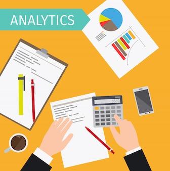 Illustrazione di vista superiore di analisi dei dati di business