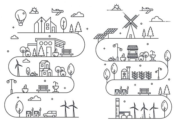 Illustrazione di vita di città con stile di linea sottile