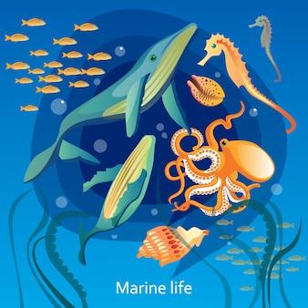 Illustrazione di vita sottomarina dell'oceano