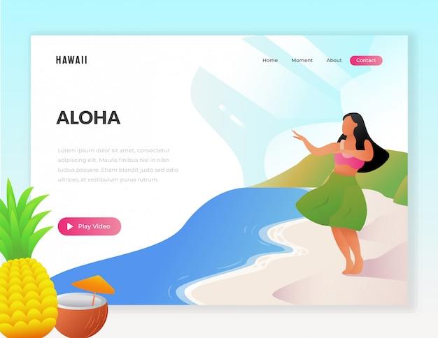 Illustrazione di web turistico vacanza hawaii