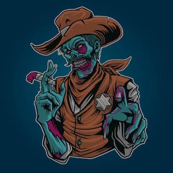 Illustrazione di zombie sherrif