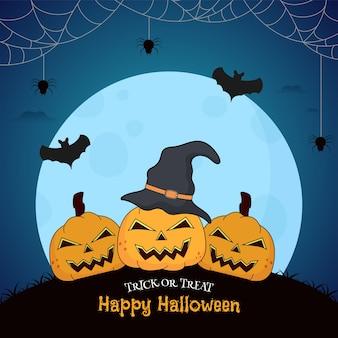 Illustrazione di zucche spettrali con cappello da strega, pipistrelli che volano e ragnatela su sfondo blu luna piena per happy halloween dolcetto o scherzetto.
