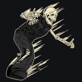 Illustrazione diabolica di snowboard scheletro demone