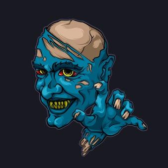 Illustrazione diabolica di vettore di halloween delle zombie del vampiro di nosferaty del demone diabolico