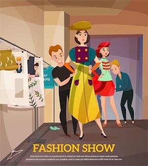 Illustrazione dietro le quinte della sfilata di moda