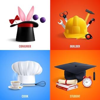 Illustrazione differente di concetto dei cappelli di professioni