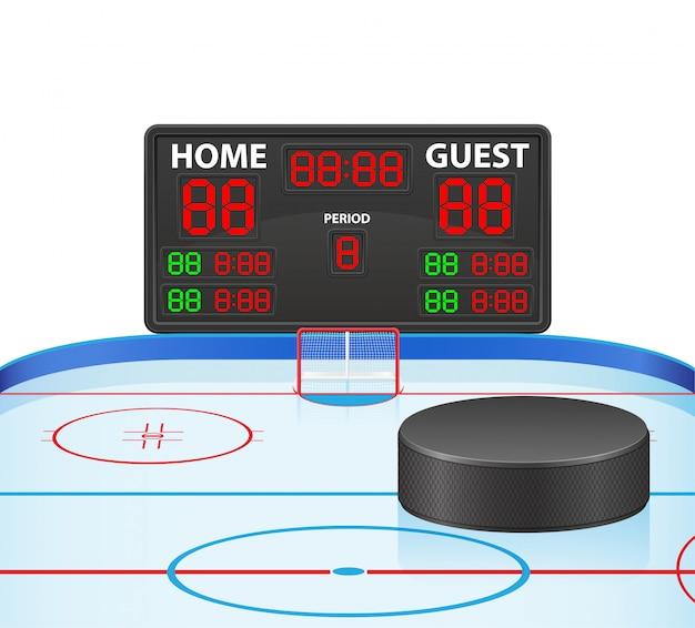 Illustrazione digitale di vettore del tabellone segnapunti di sport dell'hockey