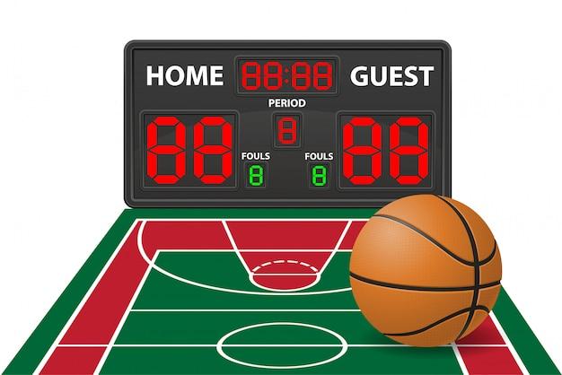 Illustrazione digitale di vettore del tabellone segnapunti di sport di pallacanestro