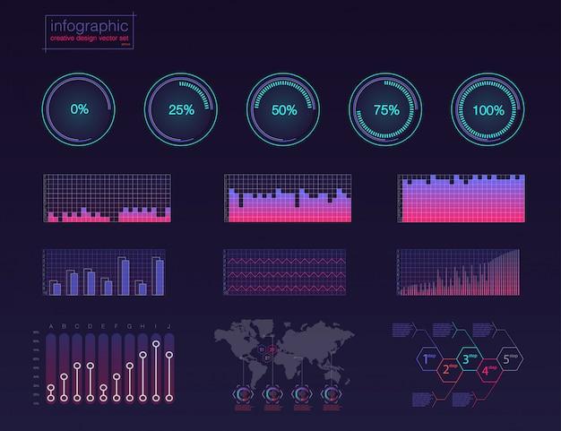 Illustrazione digitale infografica colorata. infografica creativa di tema cruscotto