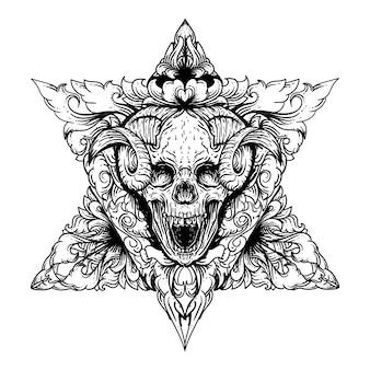Illustrazione disegnata a mano bianco e nero teschio diavolo con doppio triangolo e incisione ornamento premium