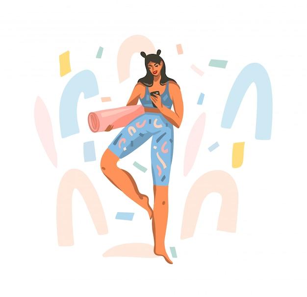 Illustrazione disegnata a mano con giovane femmina felice con una stuoia per lezione di yoga guardando un allenamento al telefono su sfondo bianco