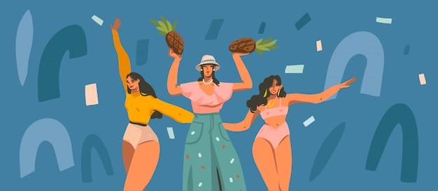 Illustrazione disegnata a mano con le giovani femmine sorridenti che ballano il partito a casa e le forme del collage isolate sul fondo di colore