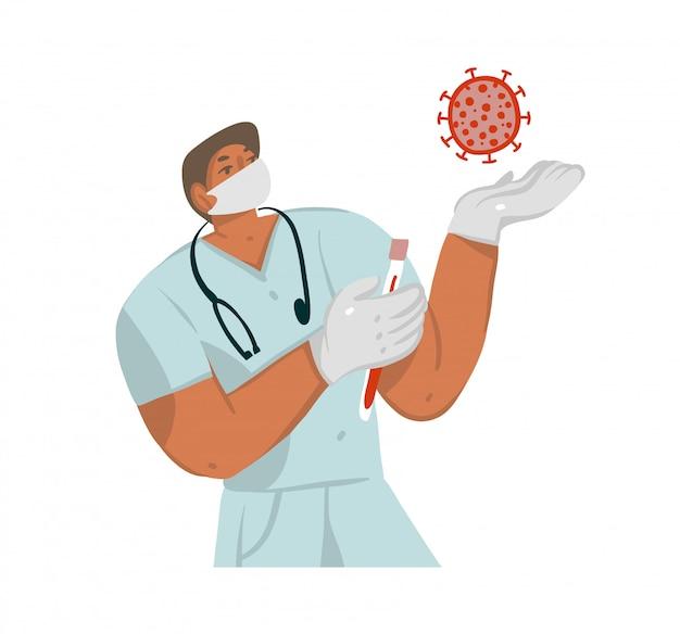 Illustrazione disegnata a mano con medico maschio in un cappotto di medici e maschera e batteri coronavirus isolati su fondo bianco.
