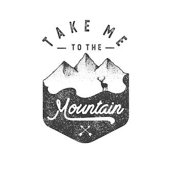 Illustrazione disegnata a mano con paesaggio montano e lettere ispiratrici