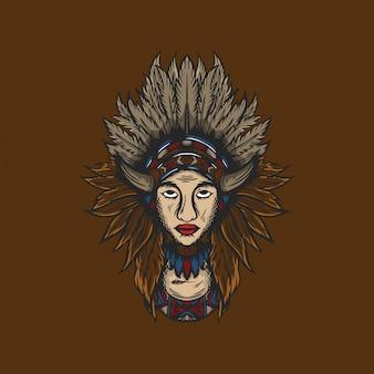 Illustrazione disegnata a mano d'annata della maschera indiana
