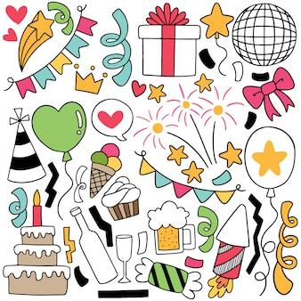 Illustrazione disegnata a mano degli ornamenti di buon compleanno di scarabocchio del partito