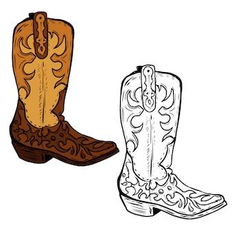 Illustrazione disegnata a mano degli stivali del cowboy. elemento per poster, volantino. illustrazione