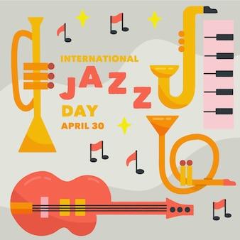 Illustrazione disegnata a mano degli strumenti di giorno di jazz internazionale
