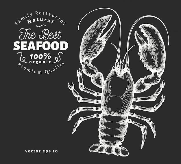 Illustrazione disegnata a mano dei frutti di mare sulla lavagna.