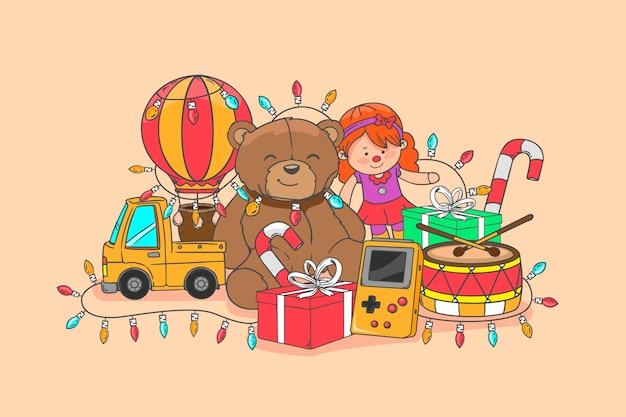 Illustrazione disegnata a mano dei giocattoli di natale