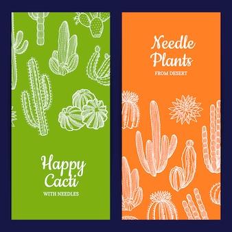Illustrazione disegnata a mano dei modelli dell'insegna di web delle piante di cactus