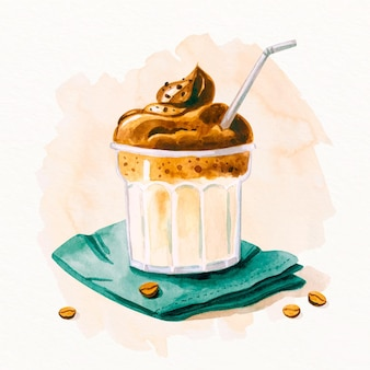 Illustrazione disegnata a mano del caffè della dalgona