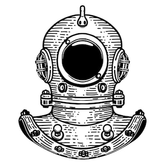 Illustrazione disegnata a mano del casco dell'operatore subacqueo di retro stile su fondo bianco. elementi per logo, etichetta, emblema, segno, distintivo. immagine
