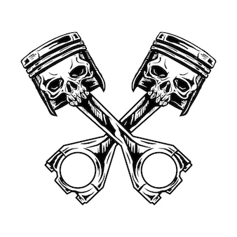 Illustrazione disegnata a mano del cranio del pistone