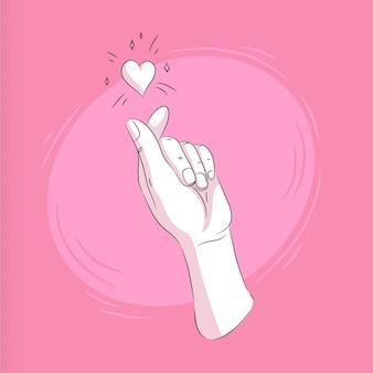 Illustrazione disegnata a mano del cuore del dito