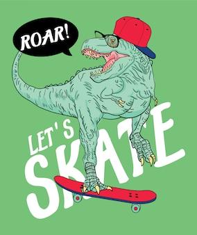 Illustrazione disegnata a mano del dinosauro di t-rex del pattinatore