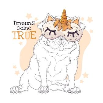 Illustrazione disegnata a mano del dogin sveglio del carlino una maschera di notte