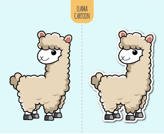 Illustrazione disegnata a mano del fumetto del lama con l'opzione di progettazione dell'autoadesivo