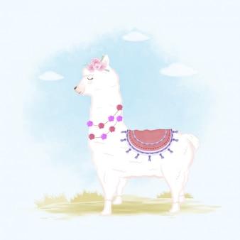 Illustrazione disegnata a mano del fumetto del lama