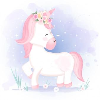 Illustrazione disegnata a mano del fumetto dell'unicorno sveglio